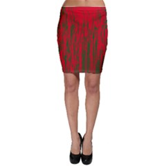 Red and green pattern Bodycon Skirt