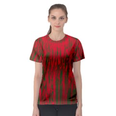 Red and green pattern Women s Sport Mesh Tee