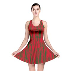 Red and green pattern Reversible Skater Dress