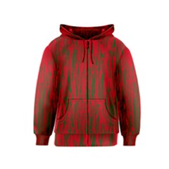 Red and green pattern Kids  Zipper Hoodie