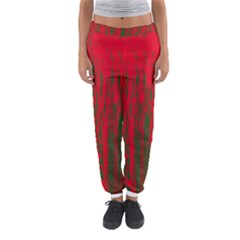 Red and green pattern Women s Jogger Sweatpants