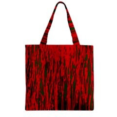 Red and green pattern Zipper Grocery Tote Bag