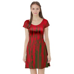 Red and green pattern Short Sleeve Skater Dress