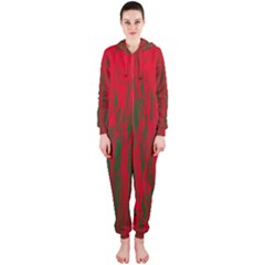 Red and green pattern Hooded Jumpsuit (Ladies)