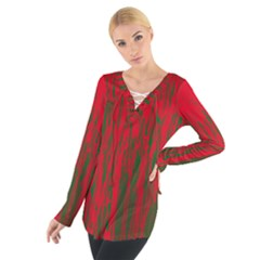 Red and green pattern Women s Tie Up Tee
