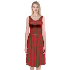 Red and green pattern Midi Sleeveless Dress