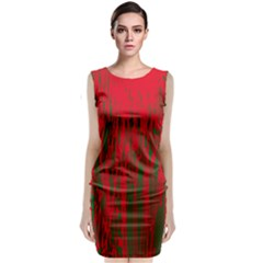 Red And Green Pattern Classic Sleeveless Midi Dress