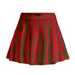 Red and green pattern Mini Flare Skirt