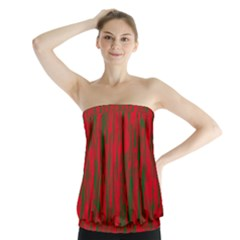 Red and green pattern Strapless Top