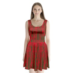 Red And Green Pattern Split Back Mini Dress