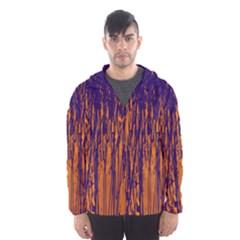 Blue and orange pattern Hooded Wind Breaker (Men)