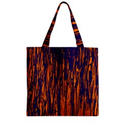 Blue and orange pattern Zipper Grocery Tote Bag