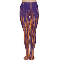 Blue and orange pattern Women s Tights