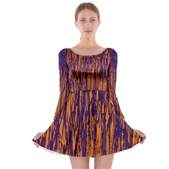 Blue and orange pattern Long Sleeve Skater Dress