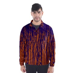 Blue and orange pattern Wind Breaker (Men)