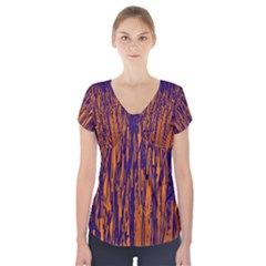 Blue and orange pattern Short Sleeve Front Detail Top