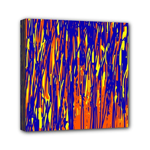 Orange, blue and yellow pattern Mini Canvas 6  x 6