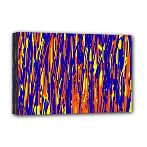 Orange, blue and yellow pattern Deluxe Canvas 18  x 12
