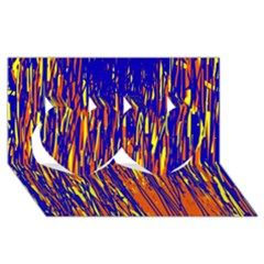 Orange, blue and yellow pattern Twin Hearts 3D Greeting Card (8x4)