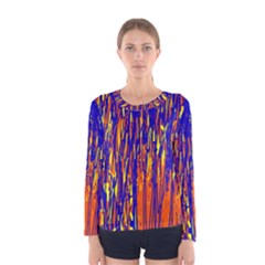 Orange, blue and yellow pattern Women s Long Sleeve Tee