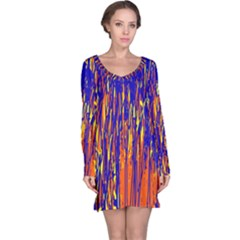 Orange, blue and yellow pattern Long Sleeve Nightdress
