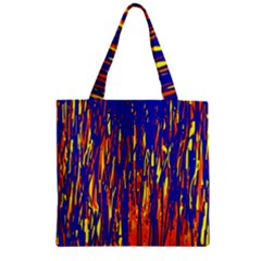 Orange, blue and yellow pattern Zipper Grocery Tote Bag