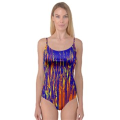 Orange, blue and yellow pattern Camisole Leotard