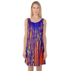 Orange, blue and yellow pattern Sleeveless Satin Nightdress