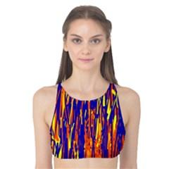 Orange, blue and yellow pattern Tank Bikini Top