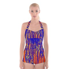 Orange, blue and yellow pattern Boyleg Halter Swimsuit
