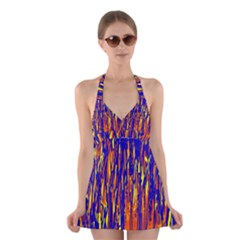 Orange, blue and yellow pattern Halter Swimsuit Dress