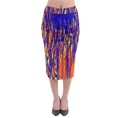 Orange, blue and yellow pattern Midi Pencil Skirt