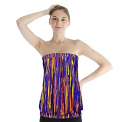 Orange, Blue And Yellow Pattern Strapless Top