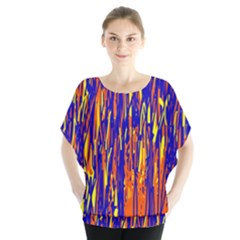 Orange, blue and yellow pattern Batwing Chiffon Blouse