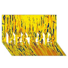 Yellow pattern BEST SIS 3D Greeting Card (8x4)