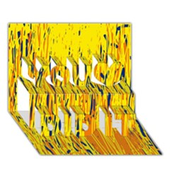 Yellow pattern You Did It 3D Greeting Card (7x5)