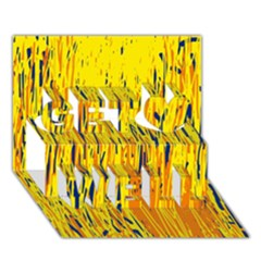 Yellow pattern Get Well 3D Greeting Card (7x5)