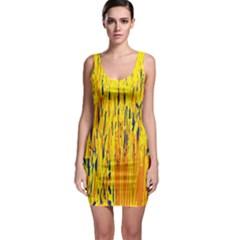 Yellow pattern Sleeveless Bodycon Dress