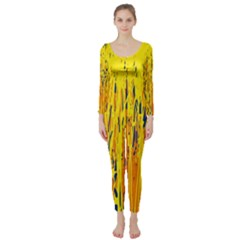 Yellow pattern Long Sleeve Catsuit
