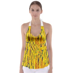 Yellow pattern Babydoll Tankini Top
