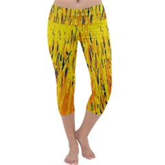Yellow pattern Capri Yoga Leggings
