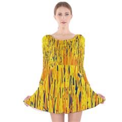 Yellow pattern Long Sleeve Velvet Skater Dress