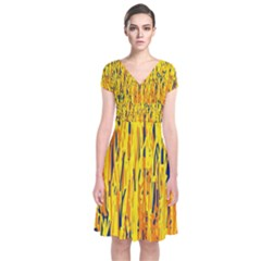 Yellow Pattern Short Sleeve Front Wrap Dress