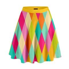 Harlequine WarmPastels Pattern High Waist Skirt