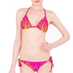 Pink and yellow pattern Bikini Set