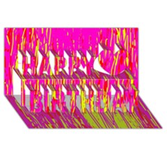 Pink and yellow pattern Happy Birthday 3D Greeting Card (8x4)