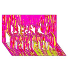 Pink and yellow pattern Best Friends 3D Greeting Card (8x4)