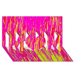 Pink and yellow pattern MOM 3D Greeting Card (8x4)