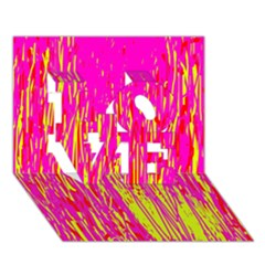Pink and yellow pattern LOVE 3D Greeting Card (7x5)