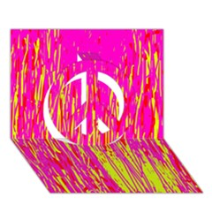 Pink and yellow pattern Peace Sign 3D Greeting Card (7x5)